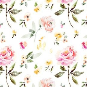 Frida Watercolor Peony on White
