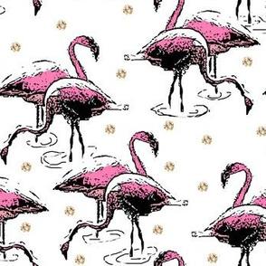 Flamingos Gold Dots