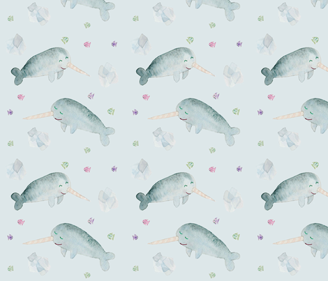 Narwhal Fun fabric by vrose22 on Spoonflower - custom fabric