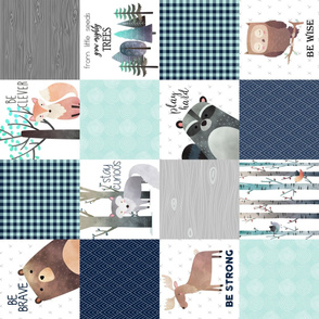 Woodland Critters Patchwork Quilt (rotated)- Bear Moose Fox Raccoon Wolf, Navy & Crystal Mint Design GingerLous