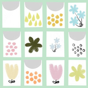 Seed packet quilt (mint)