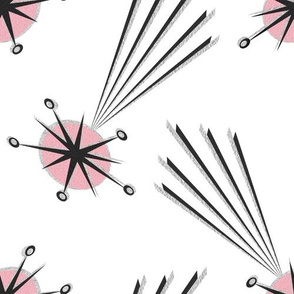 pink meteors on white I