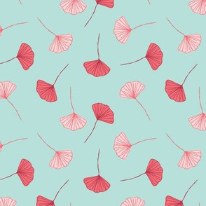Hand Drawn Pink and Teal Ginko Leaf Pattern