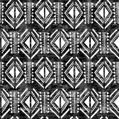 kahala pattern black hornizantal fabric by schatzibrown on Spoonflower - custom fabric