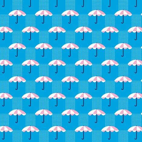 It's Raining Again* (Sky) || umbrella umbrellas spring rain spring preppy Seattle blue fabric by pennycandy on Spoonflower - custom fabric