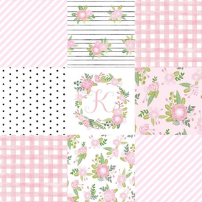 monogram quilt letter K girls pink nursery baby quilts