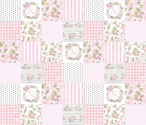 monogram quilt letter N girls pink nursery baby quilts fabric by charlottewinter on Spoonflower - custom fabric