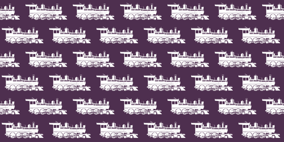 Steam Engines on Eggplant // Small fabric by thinlinetextiles on Spoonflower - custom fabric