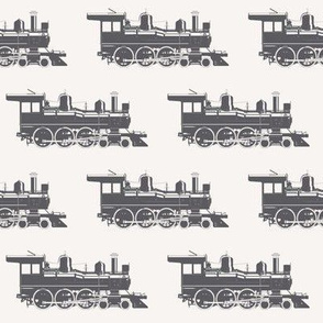 Charcoal Steam Engines on Off-white // Large