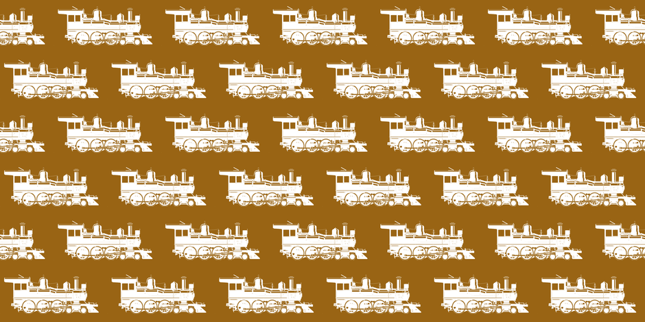 Steam Engines on Golden Brown // Small fabric by thinlinetextiles on Spoonflower - custom fabric