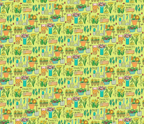 Heart of a Gardener_onGreen Sm fabric by robinpickens on Spoonflower - custom fabric