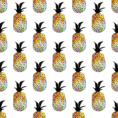 Rainbow Pineapple Pattern fabric by jannasalak on Spoonflower - custom fabric