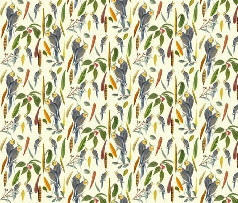 Cockatiels lemon fabric by parrots on Spoonflower - custom fabric