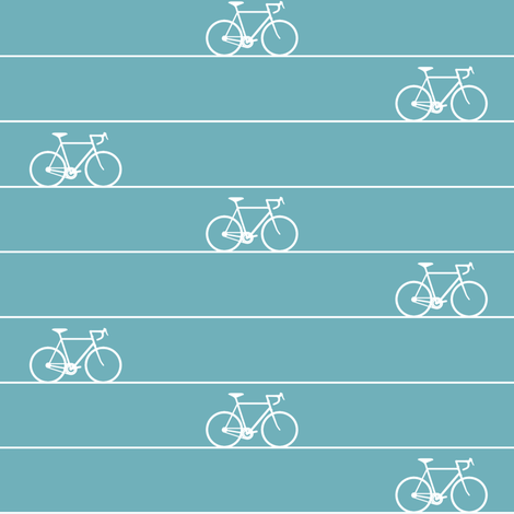 Le Tour Coordinate - White on Aqua fabric by booboo_collective on Spoonflower - custom fabric