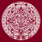 Mayan Calendar on Burgundy // Large