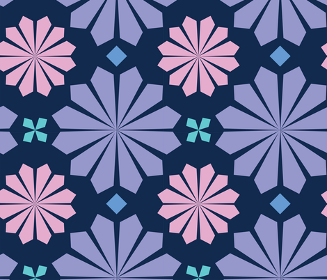 flower tile fabric by thepoonapple on Spoonflower - custom fabric