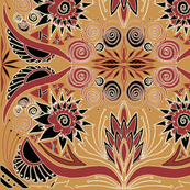 elegant tribal oil painting