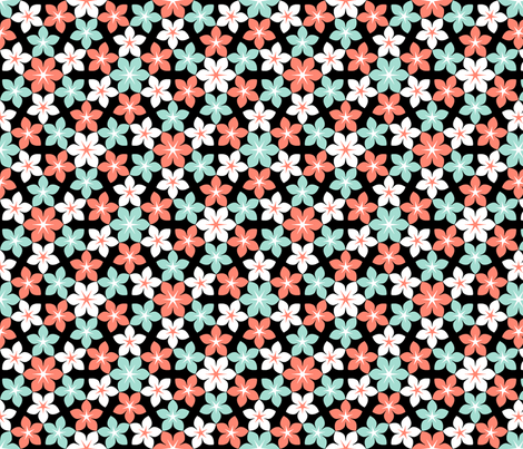 07473517 : U65 flowers 3 : coral-mint fabric by sef on Spoonflower - custom fabric