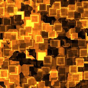Golden Cyber Glow Neon Squares