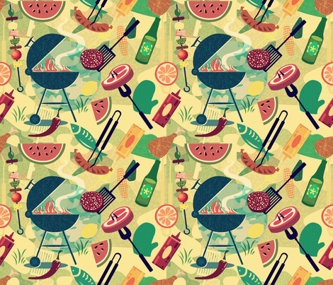 Summer BBQ 50 fabric by chicca_besso on Spoonflower - custom fabric