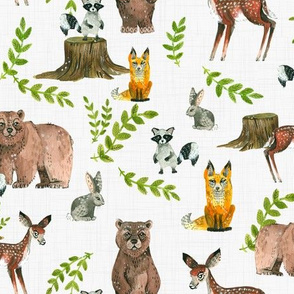 Woodland Pals - light linen background
