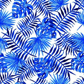 monstera and palm leaves - blue