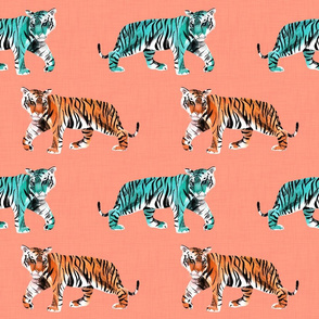 Tiger Tiger on Peachy Pink with Teal and Orange Tigers