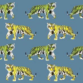 Tiger Tiger Green and Yellow Tigers on Blue Background