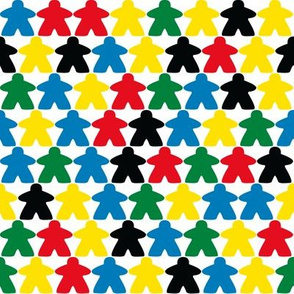 rows of meeple // colour matched