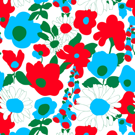 Mod Garden in White fabric by elliottdesignfactory on Spoonflower - custom fabric