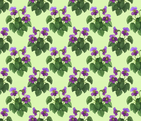 watercolor wild violets purple on green fabric by leroyj on Spoonflower - custom fabric