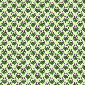 watercolor wild violets purple on green 2x2