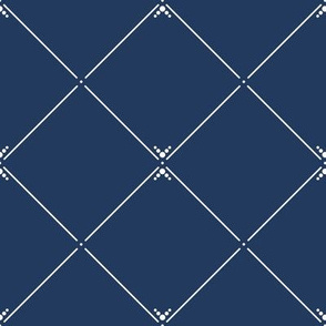 Lovely Trellis: Navy Blue & Cream