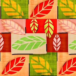 Nature Patches/ fabric & leaves