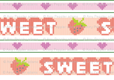 Sweet*  || polyester jacquard stripes pixel vintage double knit 70s retro groovy tee t-shirt shirt children childrens typography vintage strawberry heart hearts fruit