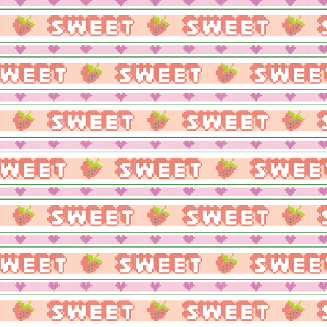 Sweet*  || polyester jacquard stripes pixel vintage double knit 70s retro groovy tee t-shirt shirt children childrens typography vintage strawberry heart hearts fruit fabric by pennycandy on Spoonflower - custom fabric