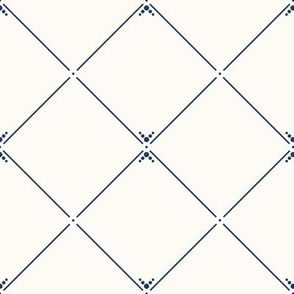 Lovely Trellis: Cream & Navy