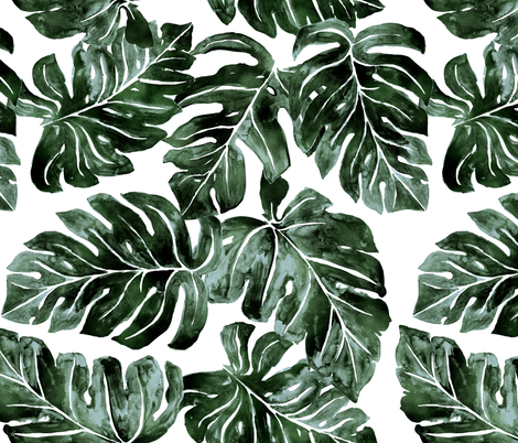 Jungle Monstera-Leaves_deep fabric by crystal_walen on Spoonflower - custom fabric