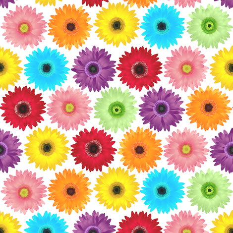 Colorful Gerbera Daisy Pattern fabric by jannasalak on Spoonflower - custom fabric
