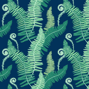 Native Ferns, Vintage Feel, on Navy