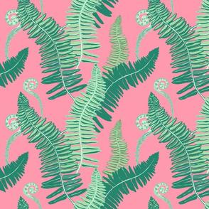 Native Ferns, Vintage Feel-- on PINK