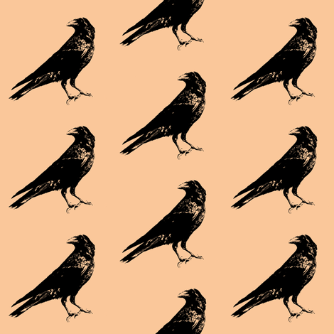 Crows on Apricot // Small fabric by thinlinetextiles on Spoonflower - custom fabric