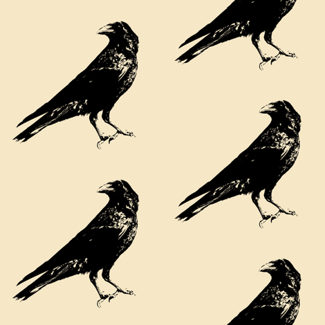 Crows on Almond // Large fabric by thinlinetextiles on Spoonflower - custom fabric