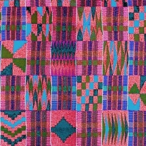 Kente Cloth // Summer Sky & Venetian Red // Small