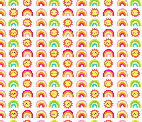 aloha lucky rainbow with sun on white fabric by alohababy on Spoonflower - custom fabric
