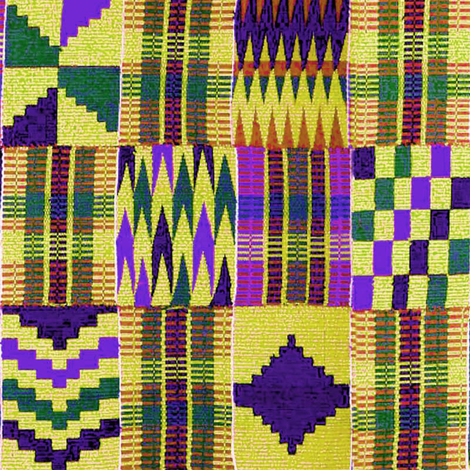 Kente Cloth // Blue-Violet & Goldenrod // Large fabric by thinlinetextiles on Spoonflower - custom fabric