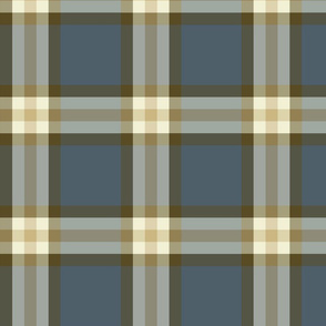 Gray Blue  & Taupe Plaid Large Format