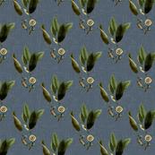 Floral Twig Blue Linen