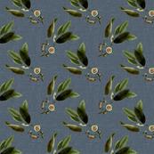 Floral Twig on Blue Linen Large Format