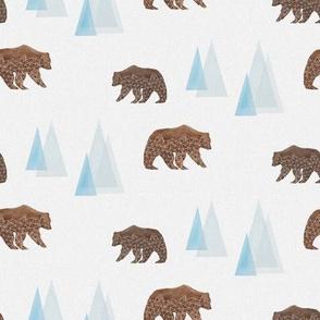 Geometric Bear and Mountains